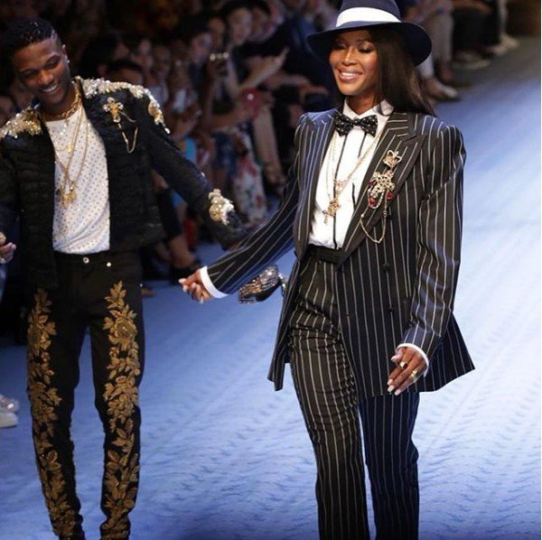 Wizkid Models For Dolce And Gabbana Alongside Supermodel