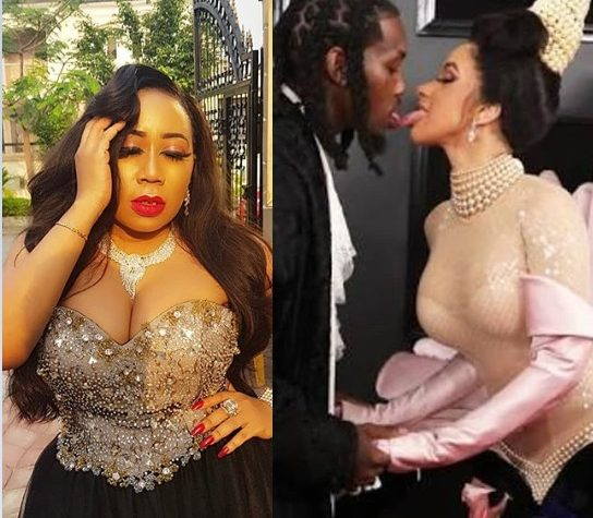 Moyo Lawal reaction to Cardi B and Offset's tongue action