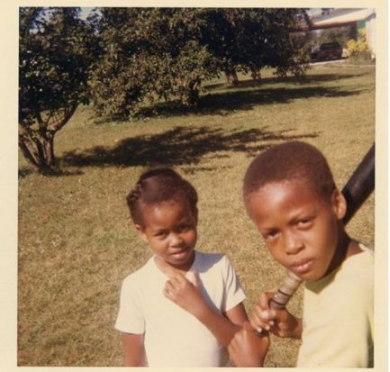 Michelle Obamawith her older brother