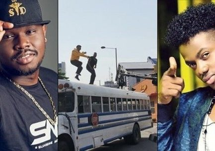 b9e003071 Video  Moments Dr Sid and Korede Bello almost fell off the top of a bus  during video shooting