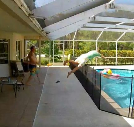 Quick-thinking father earns praise online after making a 'Superman jump' into pool to save his son from drowning (Watch Video)