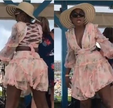 Actress, Omoni Oboli twerks up a storm during her vacation in far away St Marteen