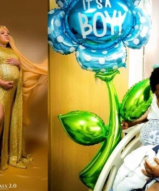 Toyin Abraham and her son